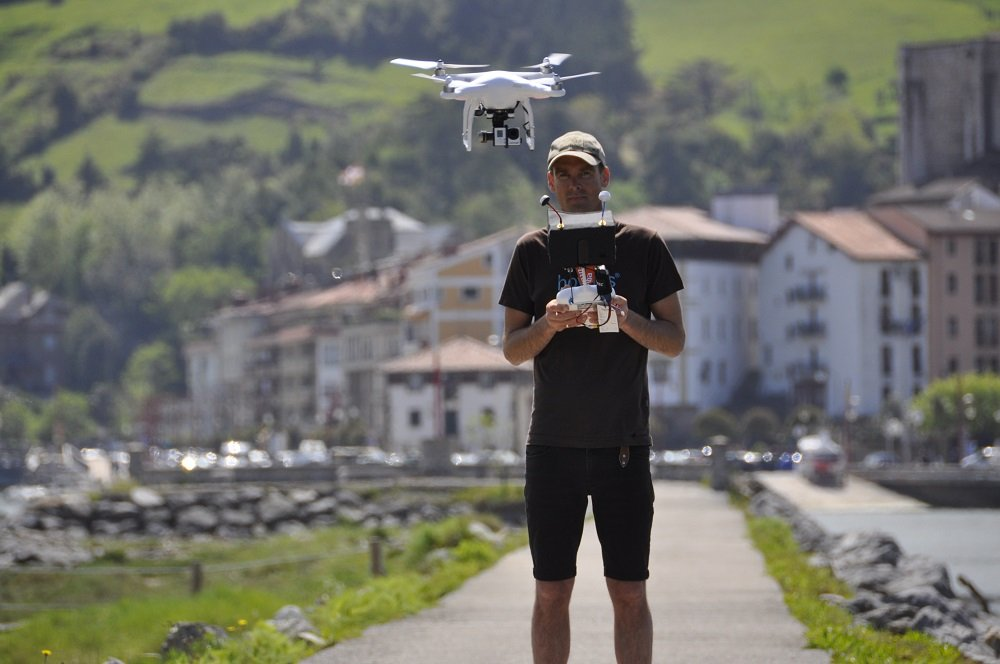 Fionn and drone in Zumaia